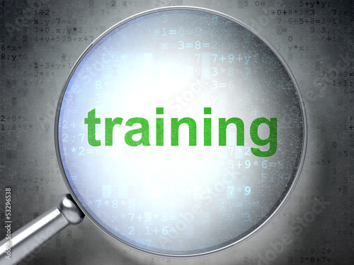Education concept: Training with optical glass