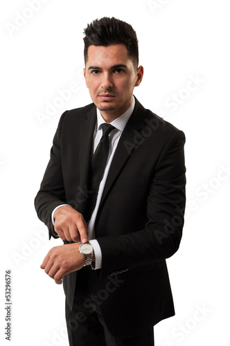 Businessman saying time is money