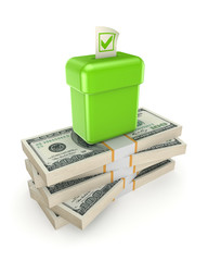 Votebox on a stack of dollars.
