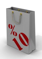 Бумажный пакет для покупок с надписью 10%