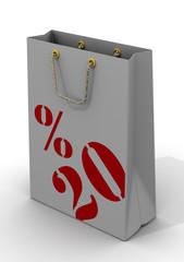 Бумажный пакет для покупок с надписью 20%