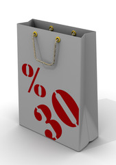 Бумажный пакет для покупок с надписью 30%