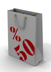 Бумажный пакет для покупок с надписью 50%