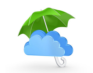 Symbol of cloud under green umbrella.