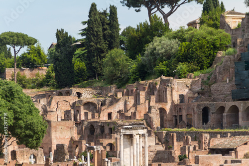 Building ruins and ancient columns  in Rome, Italy