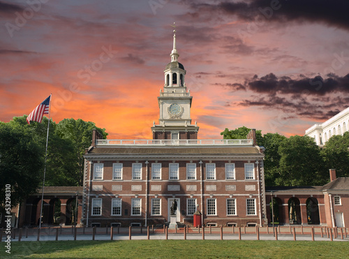 Independence Hall Philadelphia Sunset