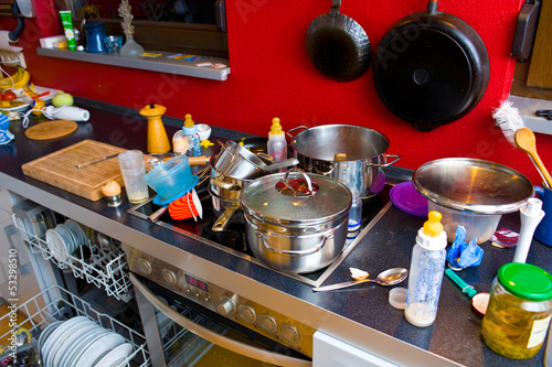 Leinwandbild Motiv chaos in the kitchen