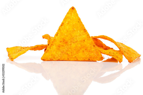 Nachos corn chips with fresh salsa isolated on white