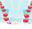 santa claus with gift abstract illustration