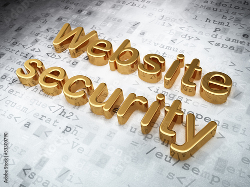 SEO web development concept: Golden Website Security on digital