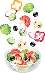 flying vegetables and salad isolated photo-realistic vector