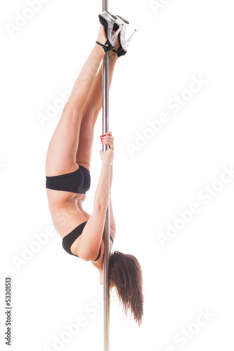 Pole Dancer on White Background