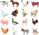 farm animals photo-realistic vector set