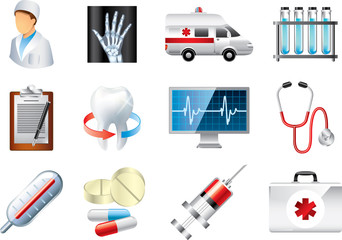 medical icons detailed vector set