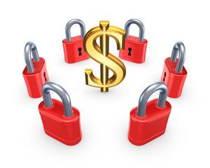 Red locks around symbol of dollar.