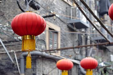 Red Chinese lanterns at Tianzifang, Shanghai