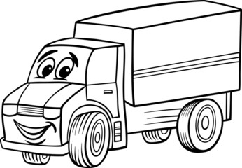 funny truck cartoon for coloring book