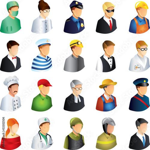 people occupations icons detailed vector set