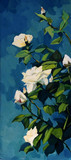 bush of white roses in the night dark blue sky, painting, illust