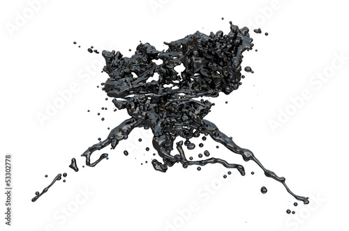 black color splashes collide, isolated on white