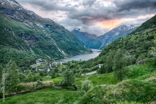 Beautiful fjord landscape in Geiranger, Norway
