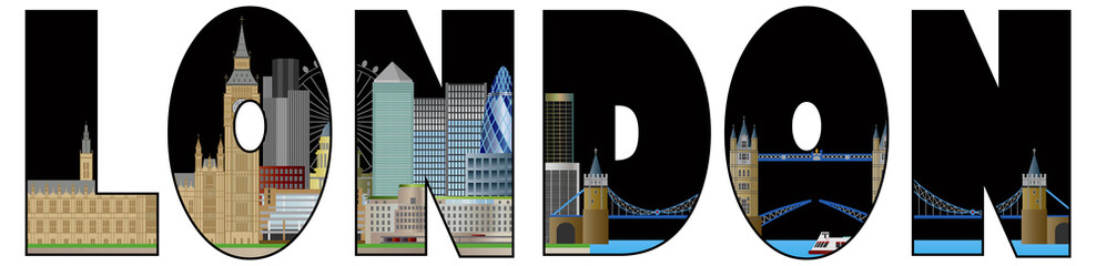 London Skyline Text Outline Color Illustration