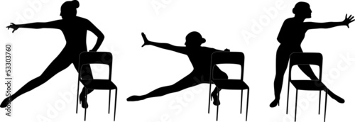 Dance woman with the chair silhouette vector