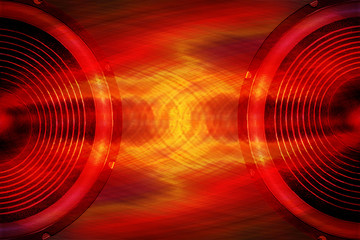 Red audio speakers music background