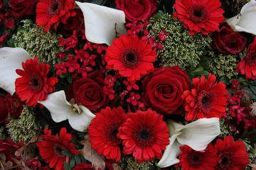 Floral arrangement in red and white