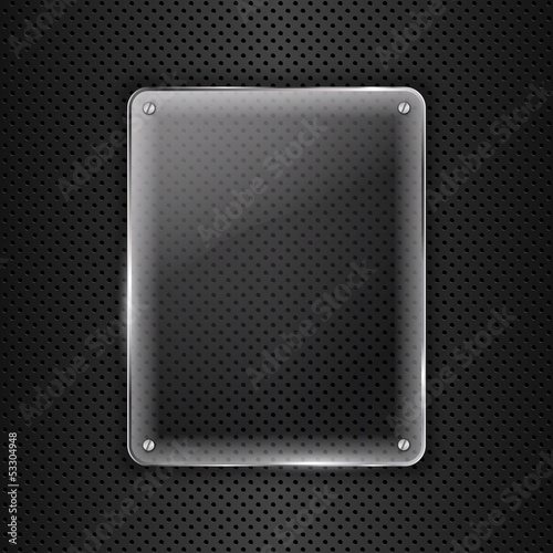 Glass frame on metal background