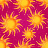 Shiny Glowing Orange Sun on Pink Seamless Background
