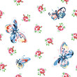 Vector floral seamless pattern with roses and butterflies