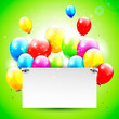 Birthday background with flying balloons and place for text