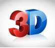 3D word written in red and blue color