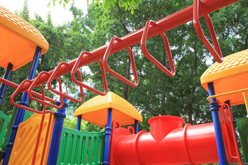 Red bar of colorful children playground