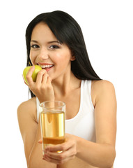 Girl with fresh apple and juice isolated on white