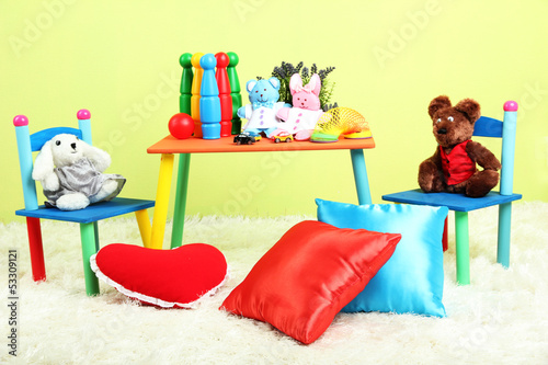 Modern child's room with equipment and toys