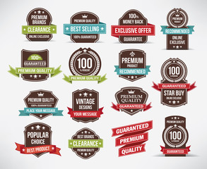 Vintage style retro labels and ribbon set. Vector design.