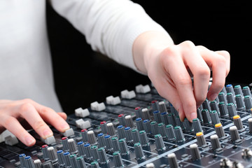 Hands and Audio Mixer