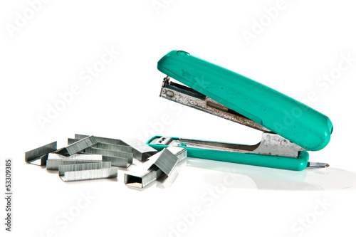 old max stapler on white background