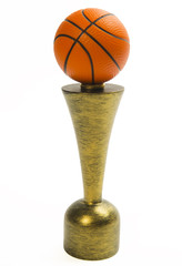 Basketball trophy isolated on white background