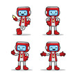 4 different poses of ticket machine robot. Vector EPS8 file.