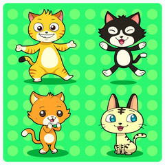 Funny Cat characters in 4 different styles. Vector EPS10 file.