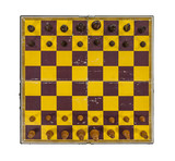 Grungy Vintage Chess Board with Pieces in Place