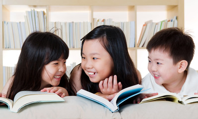 Asian kids reading