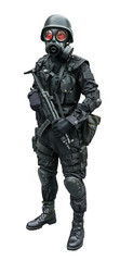 Special force soldier standing in isolation background