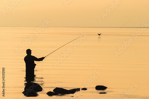 Fly fishing in the sunset