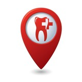 Dental clinic icon on red map pointer