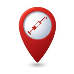 Syringe icon on red map pointer