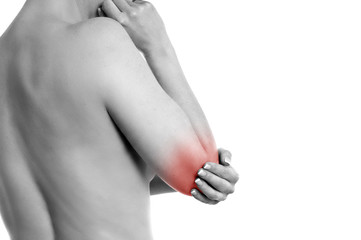Frau mit Schmerzen im Ellbogen
